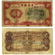 Китай. 1 юань 1936 года. могила Конфуция. The central bank of China